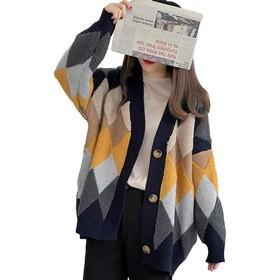 Ecrisdoo ニットカーディガン ボア セーター Vネック ニットコート アーガイル柄 レディース アウター トップス おしゃれ 可愛い 羽織る 秋冬 長袖 ゆったり 体型カバー