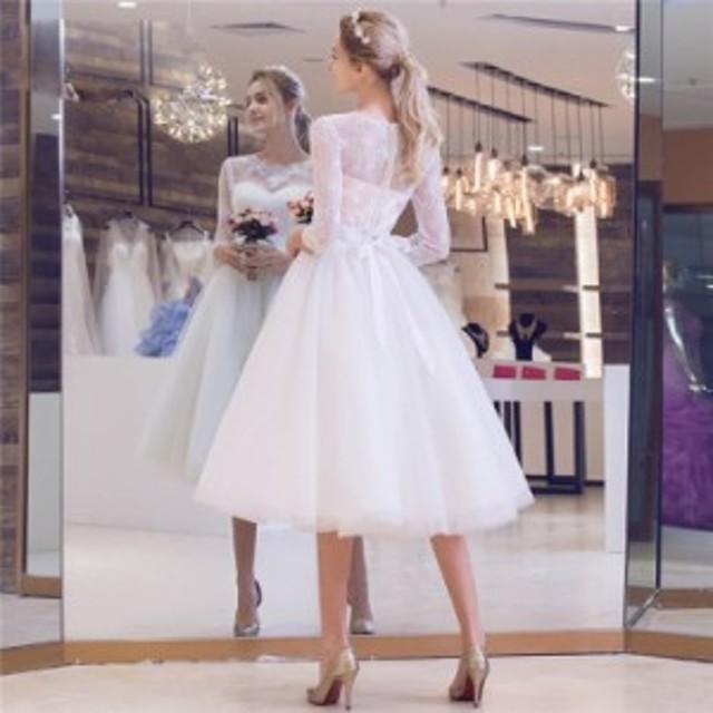 花嫁ウエディングドレス 結婚式 二次会 パーティードレス 発表会 袖あり フォーマルドレス お呼ばれドレス ホワイト 白 撮影