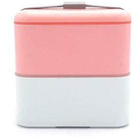 かわいい弁当箱、学生用携帯弁当箱、電子レンジ弁当箱、2層食器、四角い弁当箱、-Lightpink