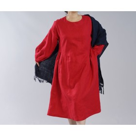 【wafu】中厚 リネン ワンピース ふんわりスリーブ くびれ技法 サイドタック ドレス / レッド a001a-red2