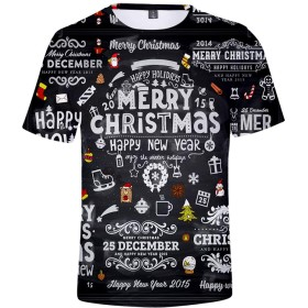 ZIGJOYユニセックス クリスマスTシャツ カジュアル 快適なトップ TシャツN05031-XS