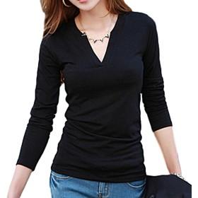 [ブルーディー] Vネック 無地 長袖 Tシャツ あったか 内面 フリース 加工 ロング スリーブ カットソー レディース ブラック FREE