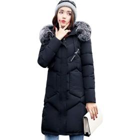 Snow-coveredplateau コート レディース ロング ダウンコート ダウンジャケット 膝下 秋冬 ゆったり 防寒 防風 (ブラック, S)