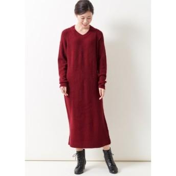 Vネックニットロング丈ワンピース (大きいサイズレディース)ワンピース, plus size dress