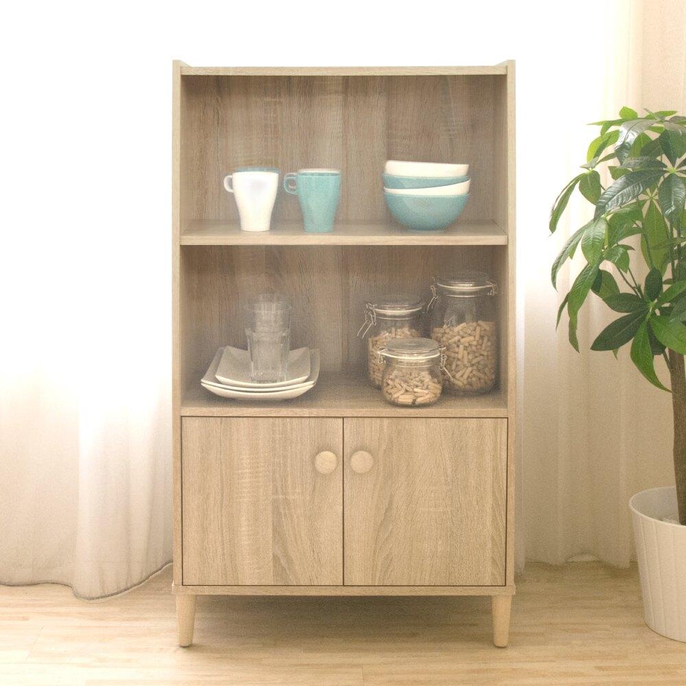 《HOPMA》日式簡約三層二門收納櫃/書櫃 G-BV3210