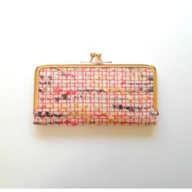 薄型シンプル長財布/リントンツィード/ピンク(染色)