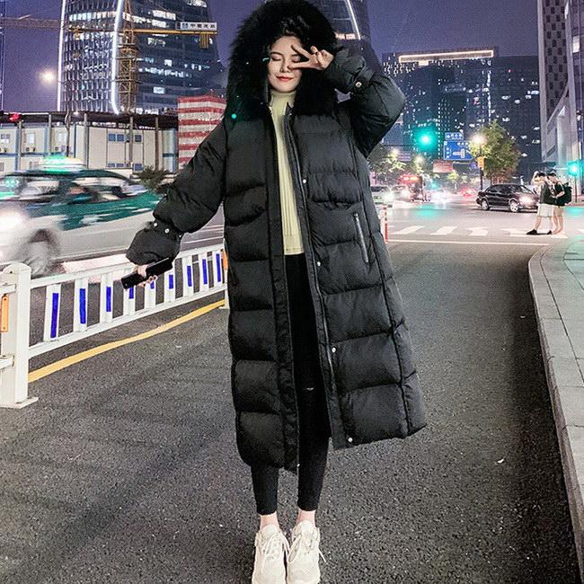 FOFU-棉服外套韓版加絨加厚腰帶連帽中長版棉服外套【08G-F0926】
