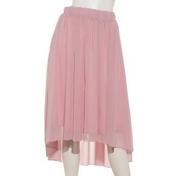 50%OFF U-BASIC (ユーべーシック) シフォンフレアアンバランススカート pink