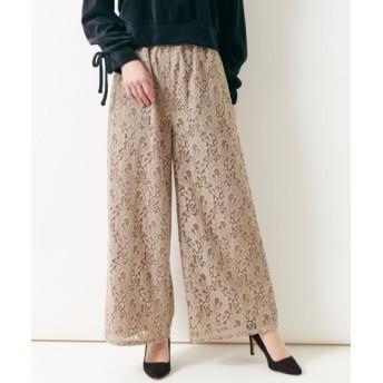 起毛レースガウチョパンツ(ゆったりヒップ) (大きいサイズレディース)パンツ, plus size pants, 子, 子