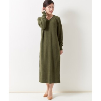 Vネックニットロング丈ワンピース (大きいサイズレディース)ワンピース, plus size dress, 衣裙, 連衣裙
