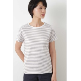 【ヒューマンウーマン/HUMAN WOMAN】 50/2新きょう綿 ボーダーTシャツ