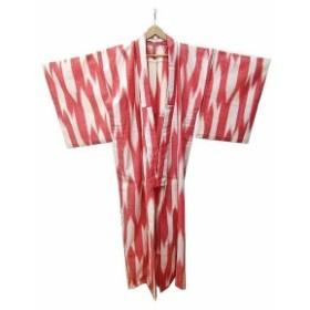 【中古】浴衣 着物 単体 夏祭り 行事 リネン 麻 帯なし 赤 S レッド 白 ホワイト C13714 レディース