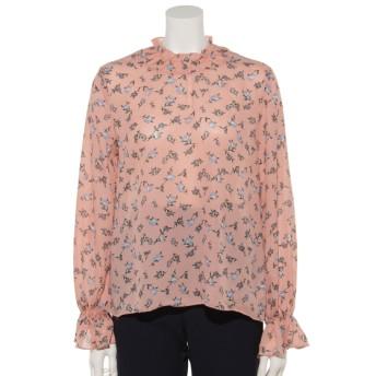 50%OFF U-BASIC (ユーべーシック) 花柄フリルネックフレア袖ブラウ pink