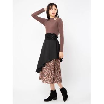 セシルマクビー CECIL McBEE 花柄プリーツドッキングスカート (ブラック)