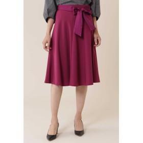 NATURAL BEAUTY サテンストレッチスカート ひざ丈スカート,ワイン