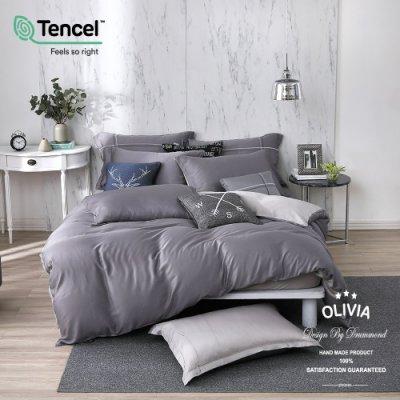 【OLIVIA 】玩色主義 灰  標準雙人床包兩用被四件組 300織天絲™萊賽爾 台灣製