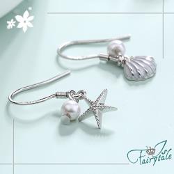 【伊飾童話】海星貝殼*珍珠不對襯銅電鍍耳環