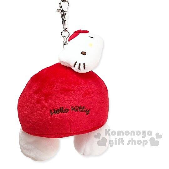 〔小禮堂〕Hello Kitty 屁股造型絨毛玩偶娃娃吊飾《紅白》掛飾.鑰匙圈.鎖圈 4901610-61008