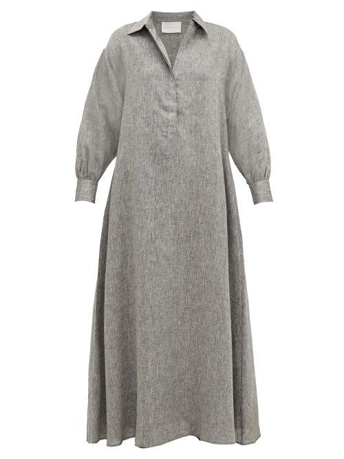 Asceno - Porto Linen Maxi Dress - Womens - Grey