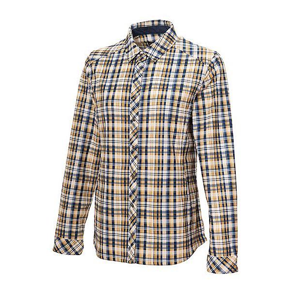 [Wildland] 荒野 (女) 彈性格紋內刷毛保暖襯衫 杏黃 (0A72201-115)