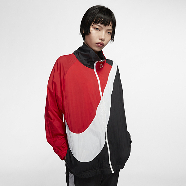 NIKE SPORTSWEAR 女裝 立領尼龍外套 黑白紅 BV3686-010