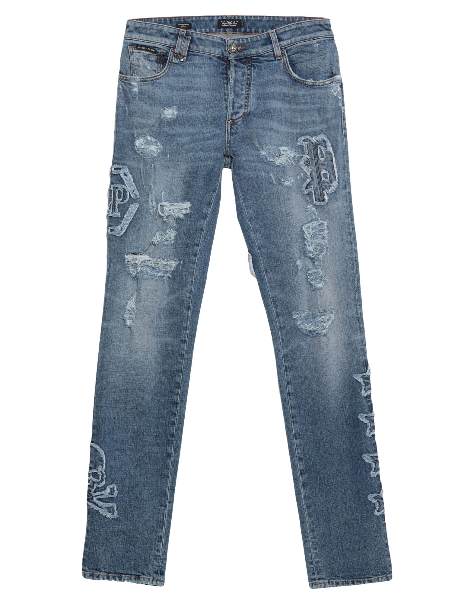 PHILIPP PLEIN Denim pants - Item 42774188