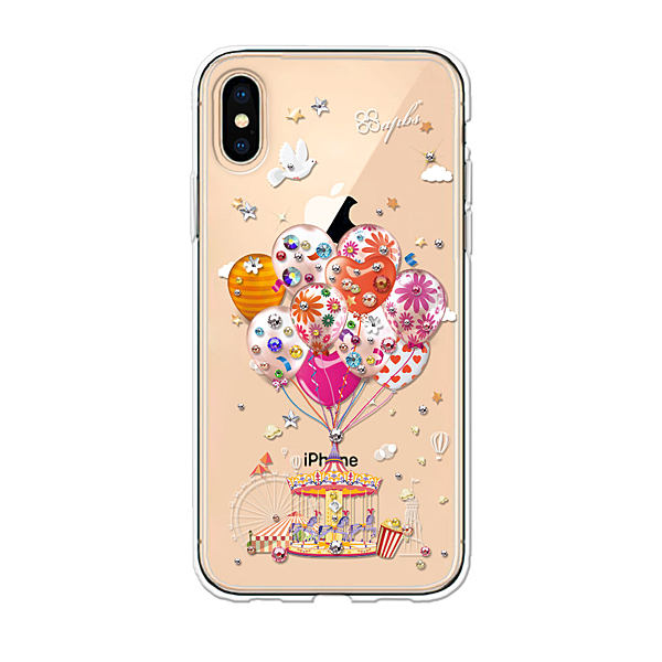 apbs iPhone Xs Max 6.5吋施華彩鑽防震雙料手機殼 夢想氣球