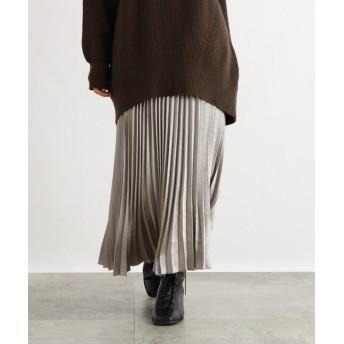 OZOC(オゾック) [洗える]サテンロングプリーツスカート