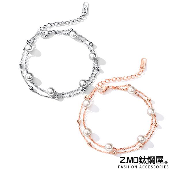 Z.MO鈦鋼屋 女性手鏈 白鋼手鍊 雙層珍珠手鏈 簡約氣質款 情人送禮 精美手鍊 單件價【CKS921】