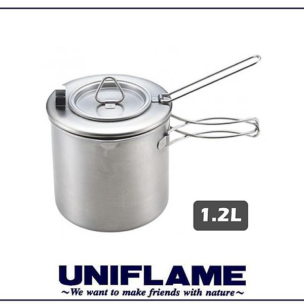 【UNIFLAME 日本 不鏽鋼咖啡壺 1.2L】660294/折疊式濾茶壺/多功能咖啡壺/個人鍋/單柄鍋