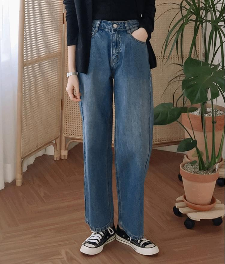 韓國空運 - ESSAYWide Leg Straight Cut Jeans 牛仔褲