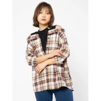 【セシルマクビー/CECIL McBEE】 ネックスリットレイヤードシャツ
