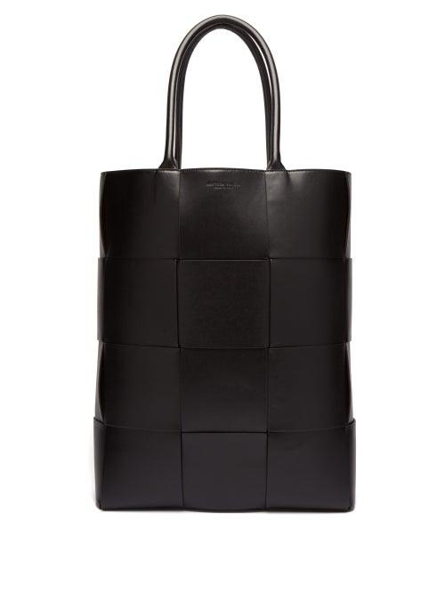 Bottega Veneta - Oversized Intrecciato Leather Tote Bag - Mens - Black