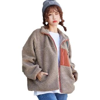 ボアブルゾン レディース ボアジャケット 秋冬 フリース コート もこもこ 防寒 アウターコート羽織り 長袖 胸ポケット あっ たか ボア ブルゾン (キャメル)