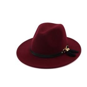 ZGQA 冬の秋優雅なフェルト帽ホンブルクのための女性男性のFedoraウールコットンポリスター帽子はフェザーバックルベルトと帽子 hat (Color : 6, Size : 56-58cm/22-23in)