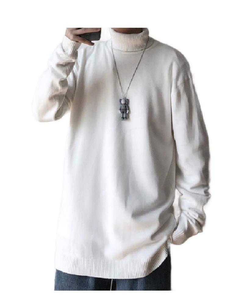 VITryst-Men Turtleneck Winter Knitting Solid Pullover Tee Sweater