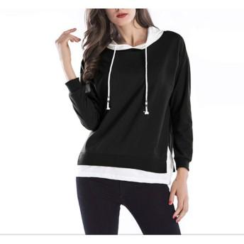 MMA-LX-NVSHIMAOSHAN パーソナライズされたファッションの女性の長い袖はプルオーバーをフード付き (Color : Black, Size : XXL)