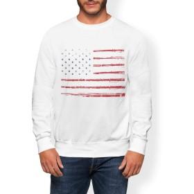 igsticker プリント トレーナー メンズ 長袖 スウェット 裏起毛 メンズ M サイズ size おしゃれ クルーネック 白 ホワイト 011650 アメリカ 外国 国旗