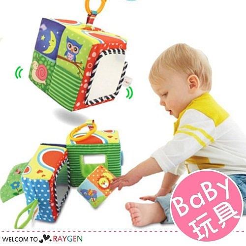 新生兒手抓布藝玩具魔法積木故事書 搖鈴 響紙