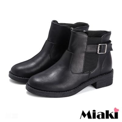 Miaki-短靴經典設計拉鍊低跟踝靴-黑