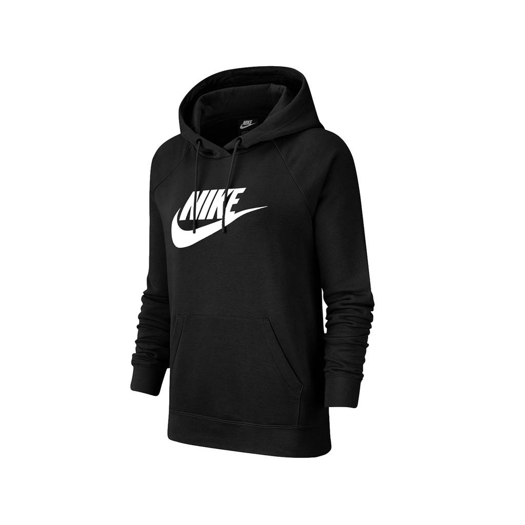Nike 長袖T恤 NSW Essential Hoodie 黑 白 女款 帽T BV4127-010 【ACS】
