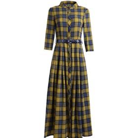 春の秋の新金 復古大並び ブラウスのスカート 通勤立領 チェックのワンピース シャツスカート ドレス S-2XL (2XL