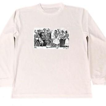 POSADA ドライ Tシャツ 髑髏 スカル カラベラ ドクロ グッズ パンク ダンス ロングTシャツ ロンT