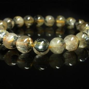 お試し価格 現品一点物 太陽放射ルチル ブレスレット 金針水晶 天然石 数珠 10ミリ OTHR30 最強金運