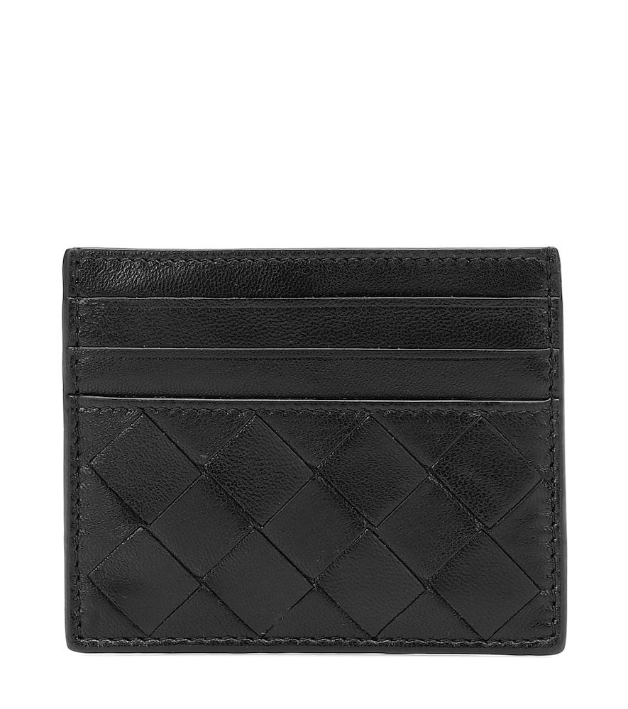 Intrecciato leather card holder