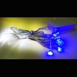摩達客 聖誕燈 LED燈串20燈電池燈 (藍白光)(透明線) (高亮度又環保)