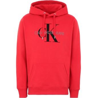 《セール開催中》CALVIN KLEIN JEANS メンズ スウェットシャツ レッド S コットン 100% MONOGRAM REG HOODIE