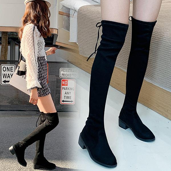 過膝長靴冬季加絨2019新款彈力瘦瘦秋款女鞋高筒網紅平底長筒靴子