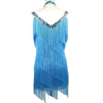 フラッパータッセルドレス女性チャールストンパーティーサルサタンゴボールルームパフォーマンス-ラテン、ライトブルー、ワンサイズ