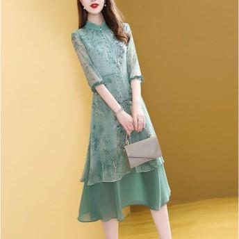 チャイナドレス 刺繍 ロング 7分袖 チャイナ服 重ね着 チャイナドレスワンピース アオザイ ベトナムドレス ゆったり 普段着 舞台 衣装 434